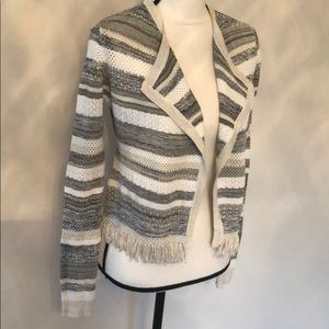 WHBM XS New grey/cream/metallic sweater w/ tags